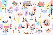 Seamless pattern - Summer picnic with active family vacation with kids, couples, families, relaxing on nature, ride bicycles and skateboard. Editable vector illustration