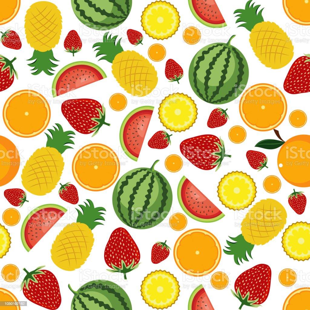 シームレス パターン夏のトロピカル フルーツの壁紙の背景 イチゴのベクターアート素材や画像を多数ご用意 Istock