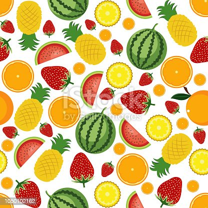 Seamless Pattern Summer Tropical Fresh Fruit Wallpaper Background Stock Vector Art More Images Of Backgrounds 1050102162