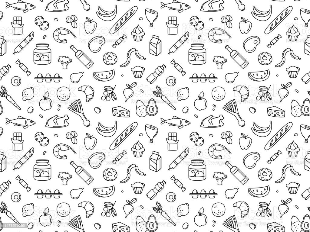 Seamless pattern supermarket grocery store food, drinks, vegetables, fruits, fish, meat, dairy, sweets Supermarket grocery store food, drinks, vegetables, fruits, fish, meat, dairy, sweets market products goods seamless thin line icons background pattern. Vector illustration in linear simple style. Apple - Fruit stock vector