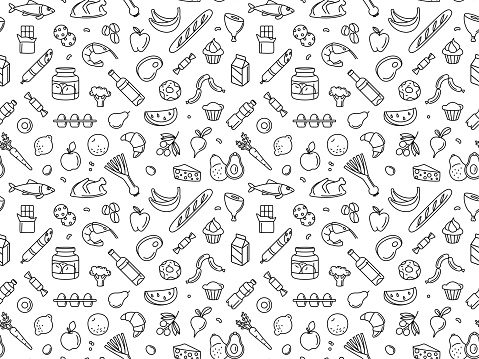 Seamless pattern supermarket grocery store food, drinks, vegetables, fruits, fish, meat, dairy, sweets