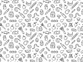 istock Seamless pattern supermarket grocery store food, drinks, vegetables, fruits, fish, meat, dairy, sweets 1173579665