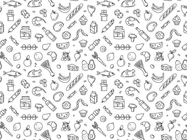 ilustrações de stock, clip art, desenhos animados e ícones de seamless pattern supermarket grocery store food, drinks, vegetables, fruits, fish, meat, dairy, sweets - food