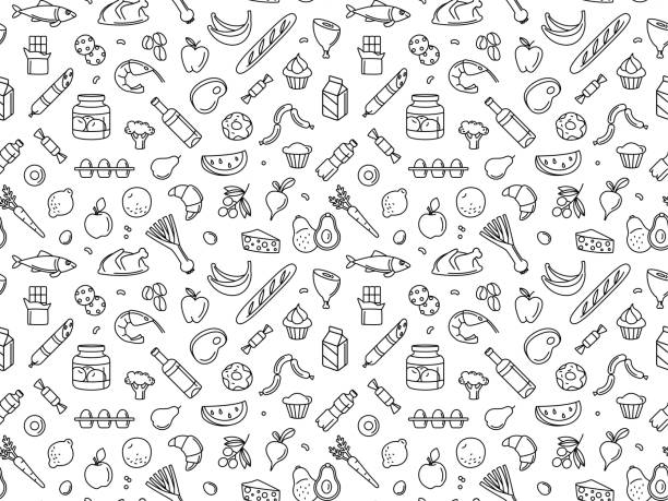 Seamless pattern supermarket grocery store food, drinks, vegetables, fruits, fish, meat, dairy, sweets Supermarket grocery store food, drinks, vegetables, fruits, fish, meat, dairy, sweets market products goods seamless thin line icons background pattern. Vector illustration in linear simple style. avocado patterns stock illustrations