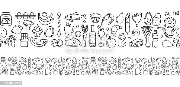 Seamless pattern supermarket groсery store food, drinks, vegetables, fruits, fish, meat, dairy, sweets