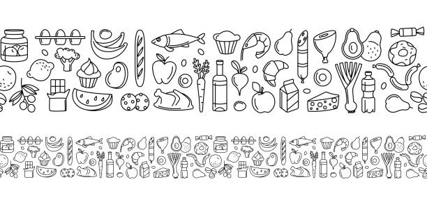 Seamless pattern supermarket groсery store food, drinks, vegetables, fruits, fish, meat, dairy, sweets Supermarket groсery store food, drinks, vegetables, fruits, fish, meat, dairy, sweets market products goods seamless thin line icons background pattern. Vector illustration in linear simple style. avocado clipart stock illustrations