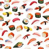 Seamless pattern sushi rolls. Japanese food background for seafood shop design. Vector illustration.