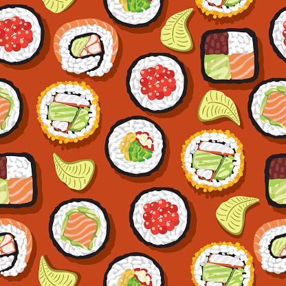 Seamless Pattern Sushi