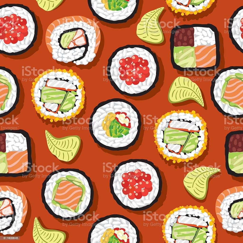 Patrón continuo de Sushi - ilustración de arte vectorial