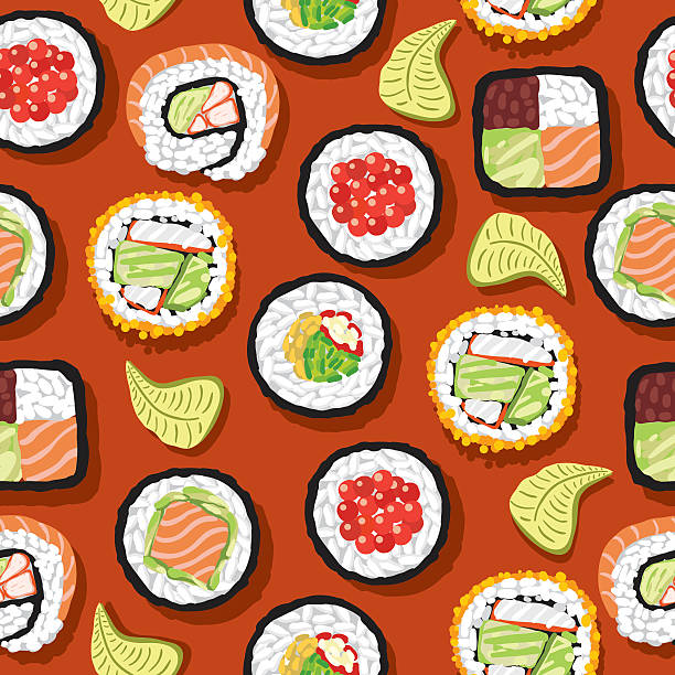 Motif uniforme sushis - Illustration vectorielle