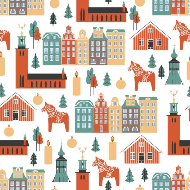 bildbanksillustrationer, clip art samt tecknat material och ikoner med sömlöst mönster, svenska resor cartoon vector landmark, flat byggnader, stadshuset i stockholm, gamla stan, klocktornet i kyrkan, kiruna, dalarna häst, ljus, träd isolerade på vit bakgrund - stockholm