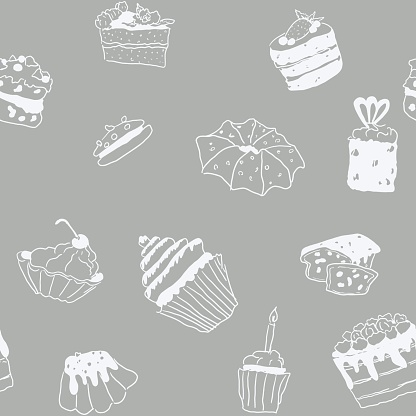 seamless pattern sweets doodle pastry gray pattern