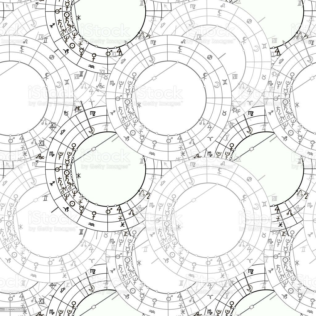 Seamless Pattern Synastry Natal Astrological Chart Zodiac Signs Vector Illustration