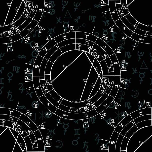 ilustrações de stock, clip art, desenhos animados e ícones de seamless pattern synastry natal astrological chart, zodiac signs. vector illustration - mapa das estrelas