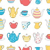 Vector seamless pattern. Tea utensils. Kettle, Cup, glass, sugar bowl. Colorful image drawn by hand. Sketch in cartoon style.