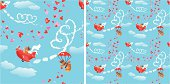Seamless pattern. Teddy bear aviators in love. Pilots by the red planes draws hearts in the sky. Funny cartoon.