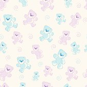 Fully editable vector illustration of a collection of blue and pink teddy bears on a repeated seamless tile background ready for use as a pattern fill.