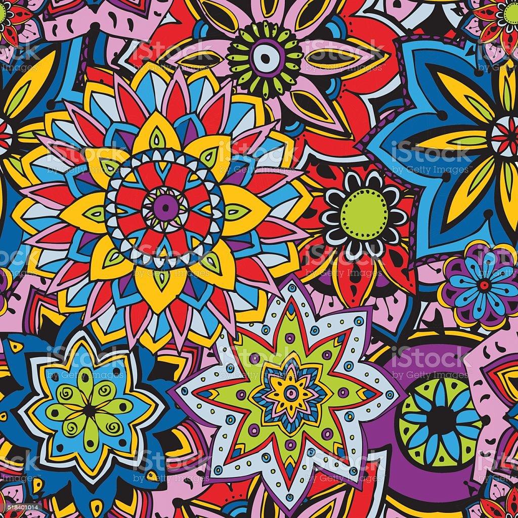 Seamless pattern texture. Indian, arabic, turkish style elements vector art illustration
