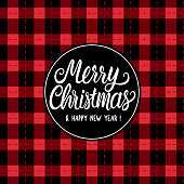 istock Seamless pattern texture. Merry Christmas white hand drawn lettering text inscription. Vector illustration Checkered black and red background. Holiday Happy New Year 1281093779