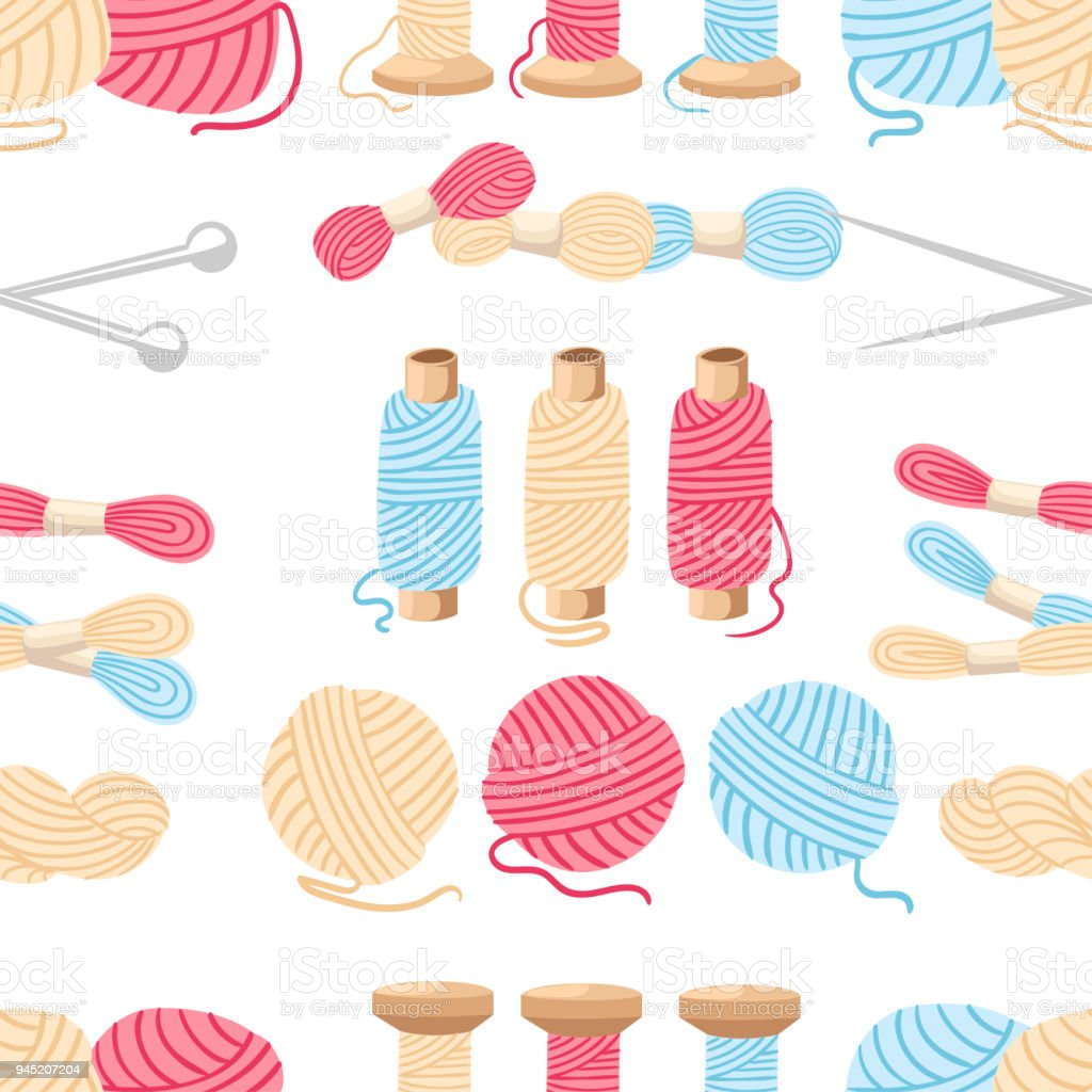 Seamless pattern. Threads for sewing for cross stitching set tools for sewing knitting needles vector wool knitwear yarn thread knitting weaving wool vector cartoon illustration multi-coloured vector art illustration