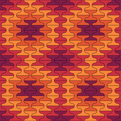 Seamless pattern. Tiles ornament. Oriental ornamentation. Repeated dumbbells shapes. Tile wallpaper. Mosaic motif. Abstract background. Ethnic digital design. Textile print. Geometrical image.