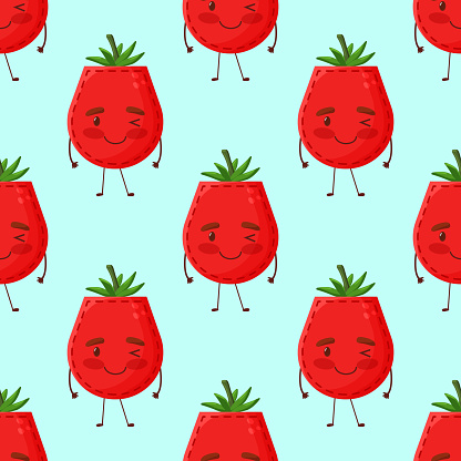 Seamless pattern tomato shaped patch pocket. Character pocket tomato. Cartoon style. Design element. Template for your shirts, books, stickers, cards, posters. Vector illustration