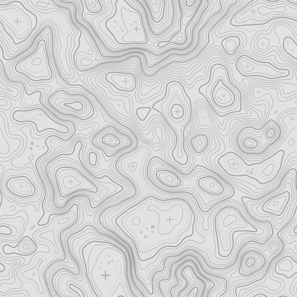 완벽 한 패턴입니다. 지형 지도 배경 복사 원활한 텍스처에 대 한 공간. 선 지형 지도 윤곽 배경, 지리적 표입니다. 지형을 산악 하이킹 코스 - mountain top stock illustrations