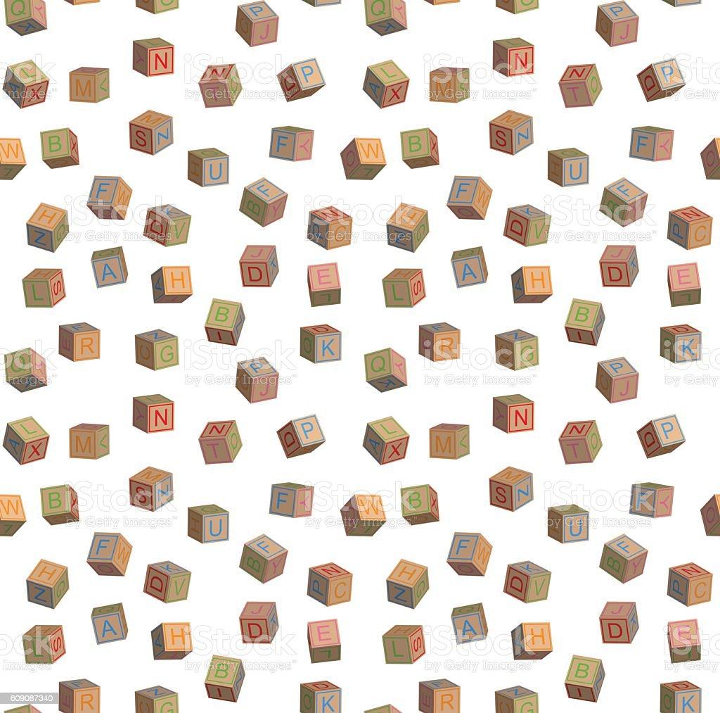 Seamless pattern toy blocks alphabet - ilustración de arte vectorial