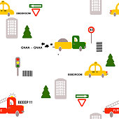 Seamless pattern: transport: cars, firefighters, truck, signs, houses, trees on a white background. Flat vector.
