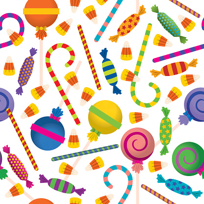 Seamless Pattern Trick Or Treat Candies