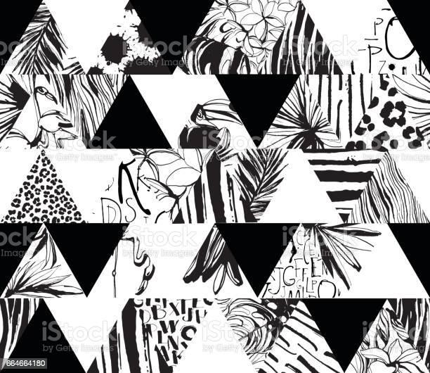 Seamless pattern tropical birds palms flowers triangles grunge ink vector id664664180?b=1&k=6&m=664664180&s=612x612&h=z4lu4dtcix3rkpbysllchs6riv6lkojpnsa4mmytzrs=