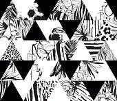 Seamless pattern Tropical birds, palms, flowers, triangles. Grunge ink style.