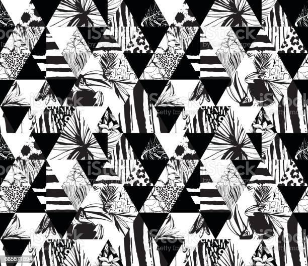 Seamless pattern tropical birds palms flowers triangles grunge ink vector id665871894?b=1&k=6&m=665871894&s=612x612&h=ytp7iziglwinfofaevoytokcdjkdpb46p4o2xbp5pui=
