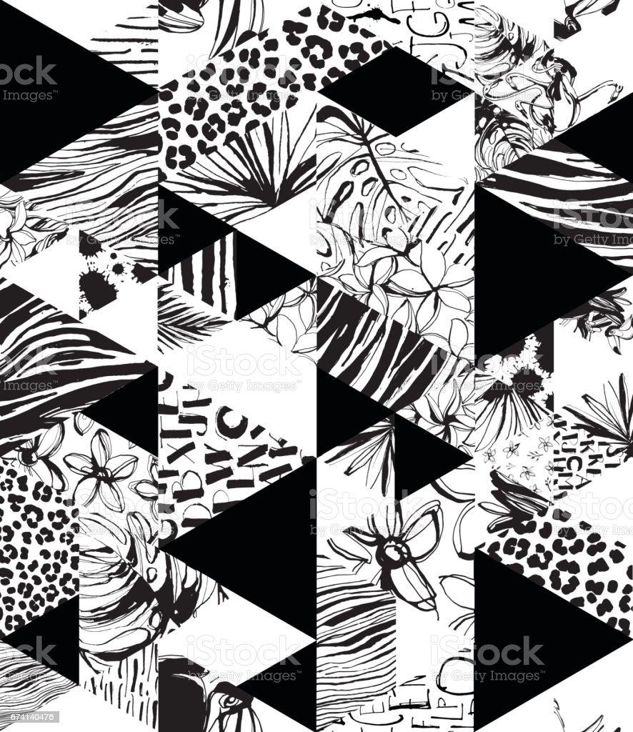 Pájaros tropicales de patrones sin fisuras, palmas, flores, triángulos. Estilo de la tinta del Grunge. - ilustración de arte vectorial
