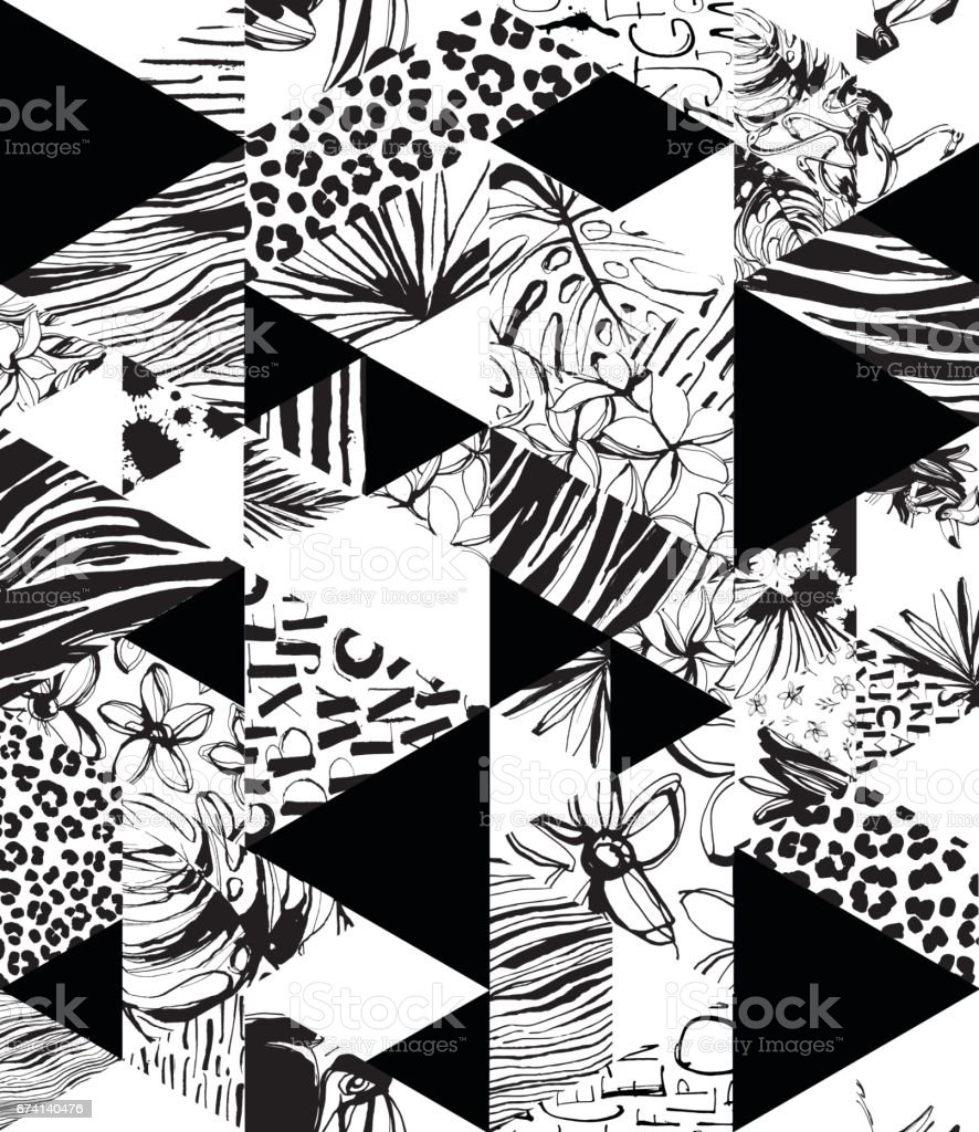 Nahtlose Muster Tropenvögel, Palmen, Blumen, Dreiecke. Grunge-Tinte-Stil. – Vektorgrafik