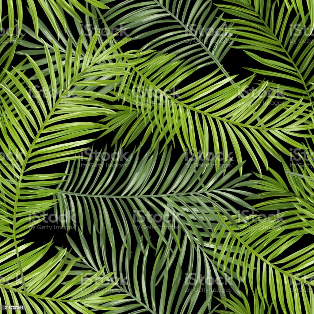 Seamless Pattern. Tropical Palm Leaves Background. Vector Background vector art illustration