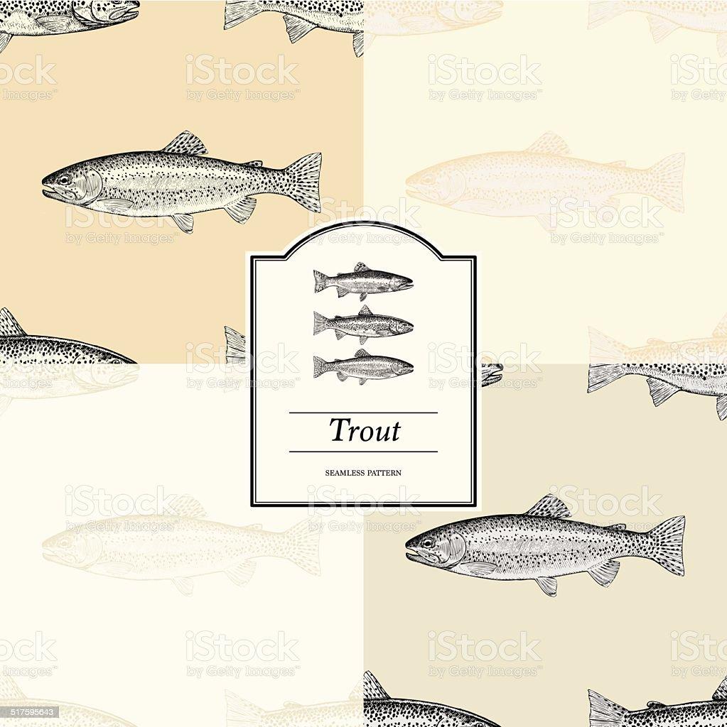 Seamless Pattern - Trout vector art illustration