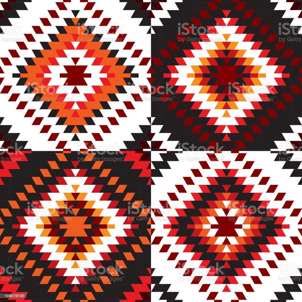 Nahtlose Muster Turkischen Teppich Weiss Rot Schwarz Patchwork Mosaik