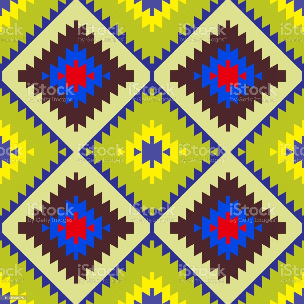 Nahtlose Muster Türkischen Teppich Gelb Blau Rot Grün Braun. Patchwork  Mosaik Orientalische Kelim Teppich Mit