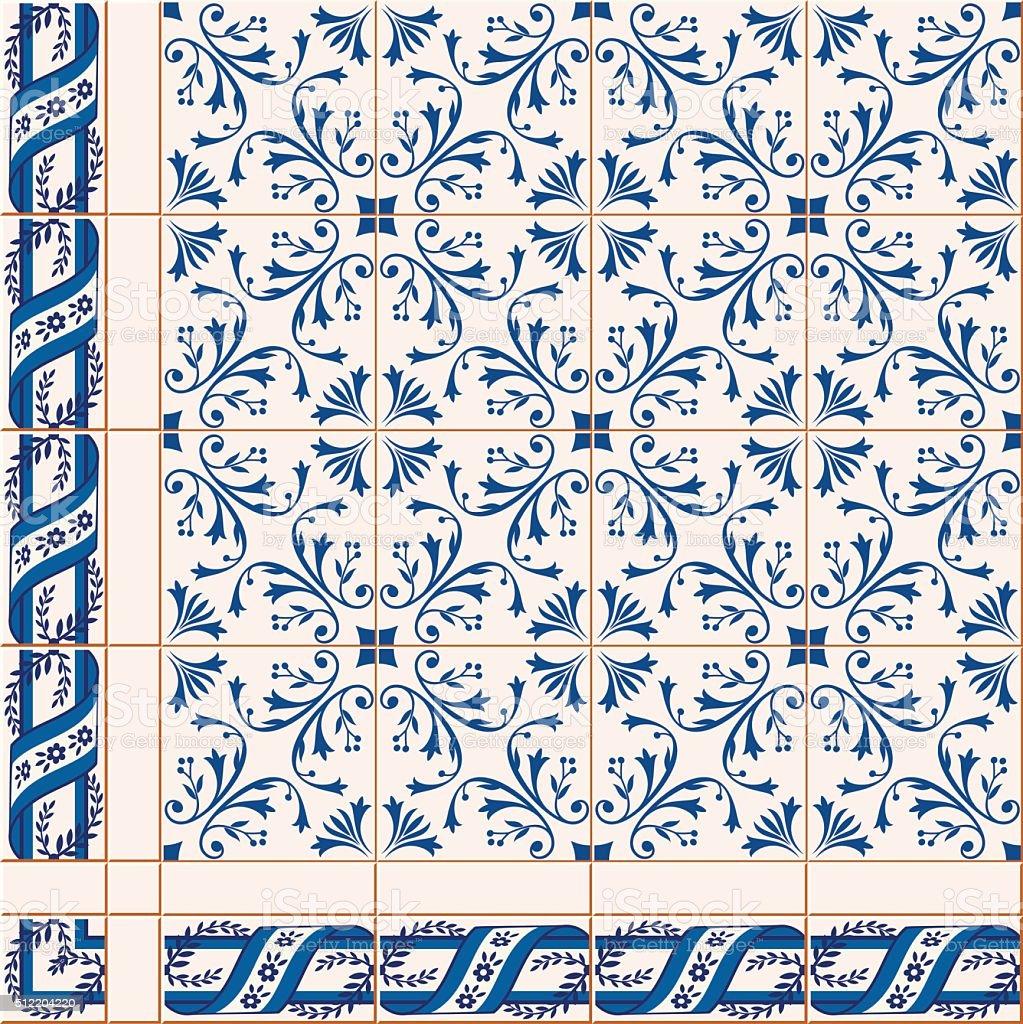 seamless  pattern. Turkish, Moroccan, Portuguese  Azulejo tiles and border, ornaments. vector art illustration