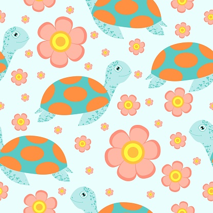 Seamless pattern. Turtle or tortoise. Cute and funny. Turquoise green and orange. Pink flower. Blue background. Sea animal. Nature and ecology. For post cards, wallpaper, textile or wrapping paper