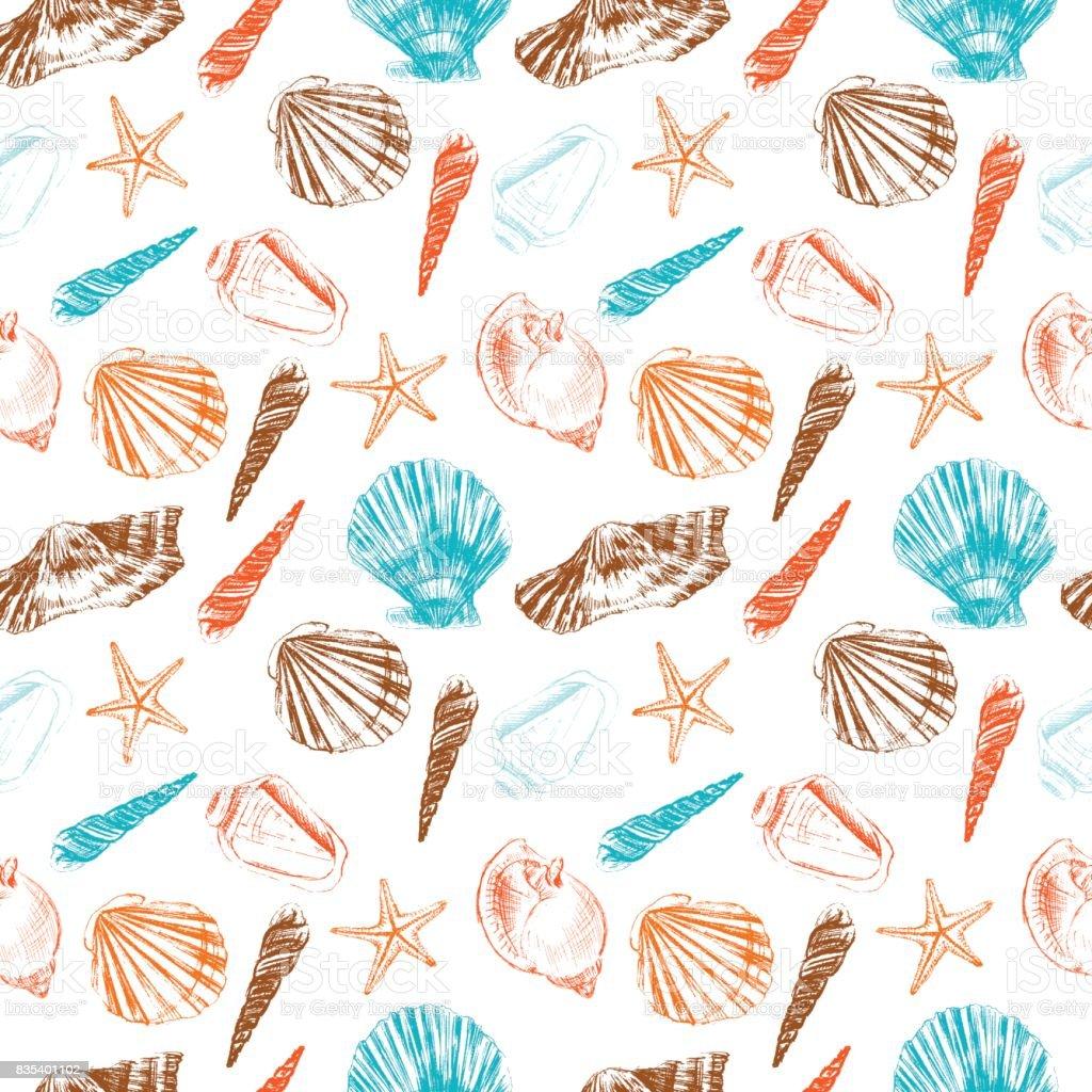 Seamless Pattern Underwater Artistic Marine Colorful ...