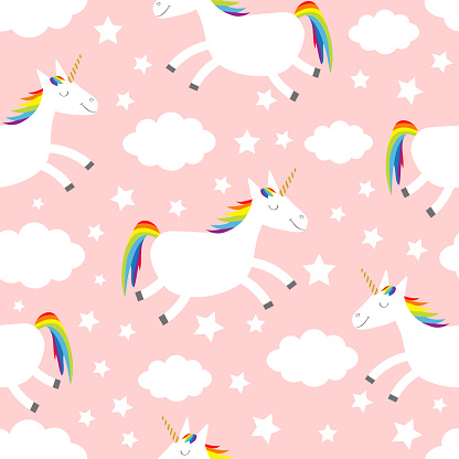 Seamless Pattern. Unicorn jumping. Cloud star in the sky. Cute cartoon kawaii funny smiling baby character. Wrapping paper, textile template. Nursery decoration Pink background Flat design
