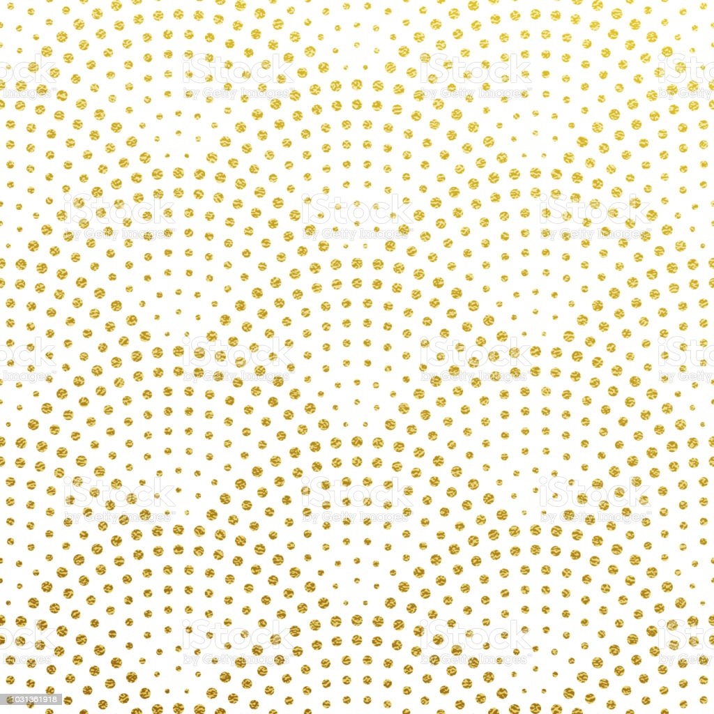 Seamless pattern vector background of glittery golden scales or fountain confetti in retro Gatsby design with art deco gold glittering dots on white vector art illustration