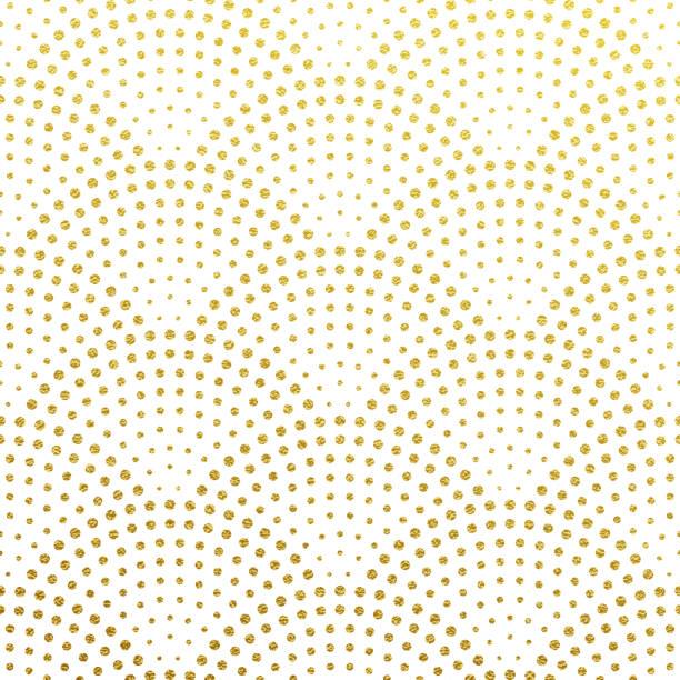 stockillustraties, clipart, cartoons en iconen met naadloze patroon vector achtergrond van glittery gouden schalen of fontein confetti in retro gatsby design met art deco goud glinsterende stippen op wit - boog architectonisch element