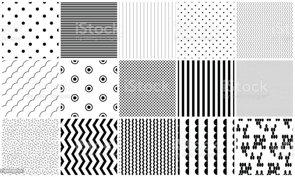 Seamless pattern vector black and white geometric textures vector art illustration