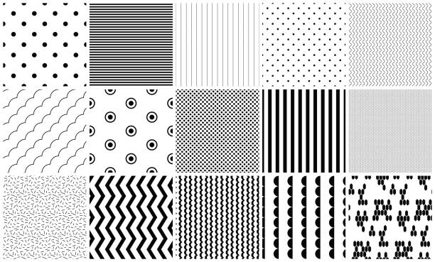 Seamless pattern vector black and white geometric textures Seamless pattern vector black and white geometric textures. Simple shapes background repeat designs. himbeeren stock illustrations