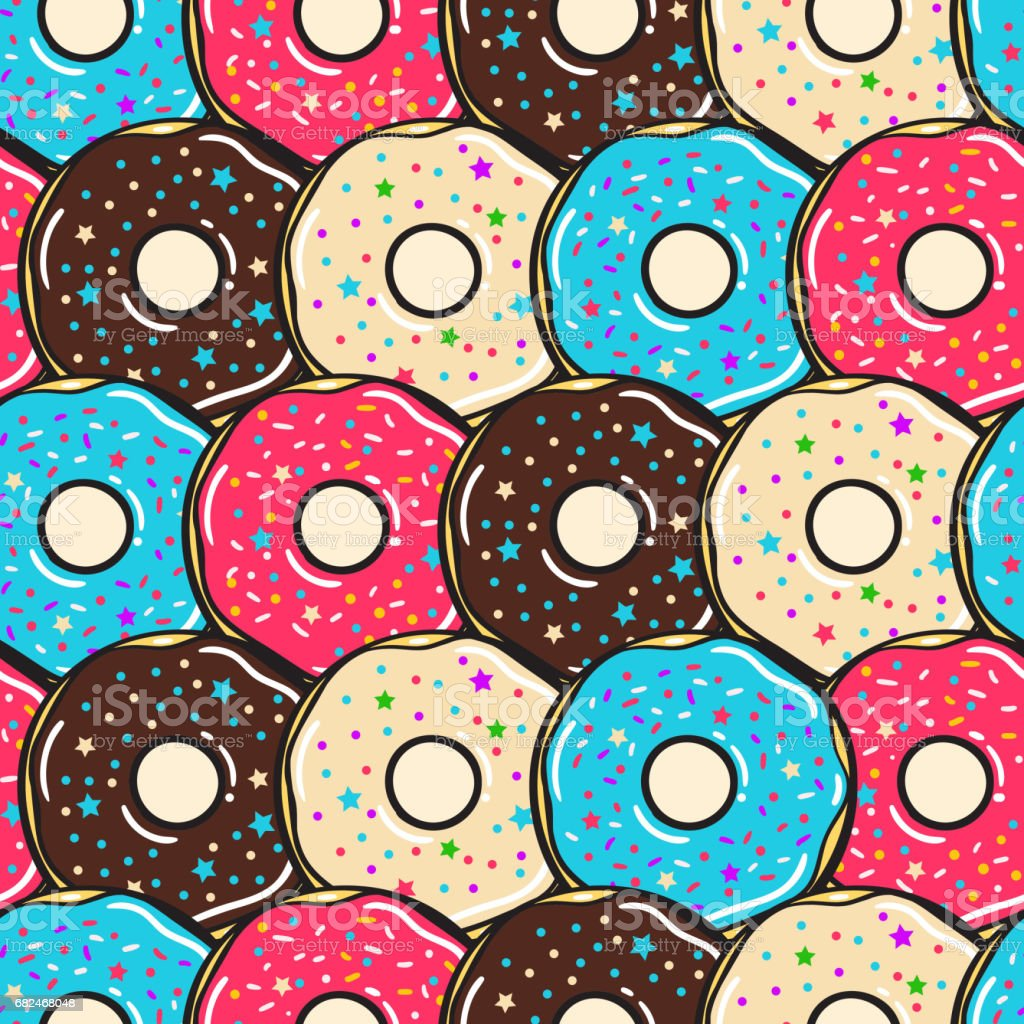Nahtlose Muster. Vektor. Farbige donuts Lizenzfreies nahtlose muster vektor farbige donuts stock vektor art und mehr bilder von 80-89 jahre