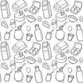 Seamless pattern. Vector dairy products