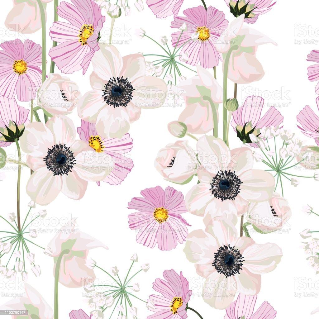 Seamless pattern vector floral watercolor style design: garden powder...